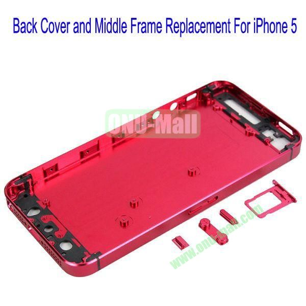 High Quality Back Cover and Middle Frame Replacement for iPhone5(Red)