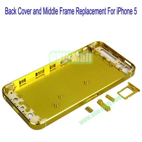 High Quality Back Cover and Middle Frame Replacement for iPhone5(Yellow)