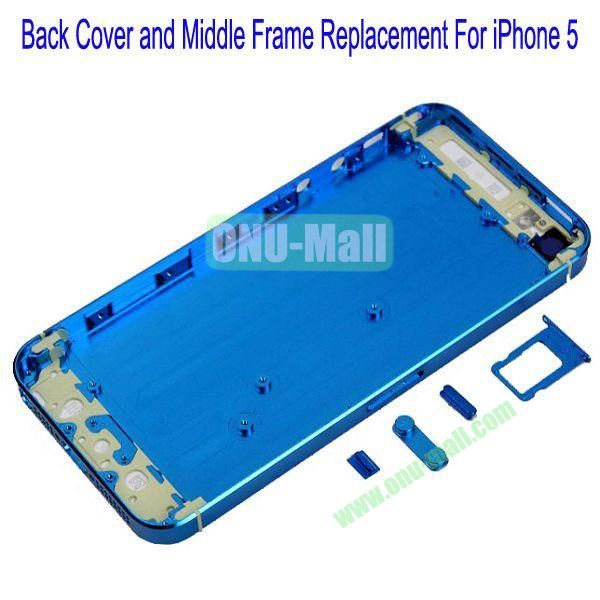 High Quality Back Cover and Middle Frame Replacement for iPhone5(Blue)