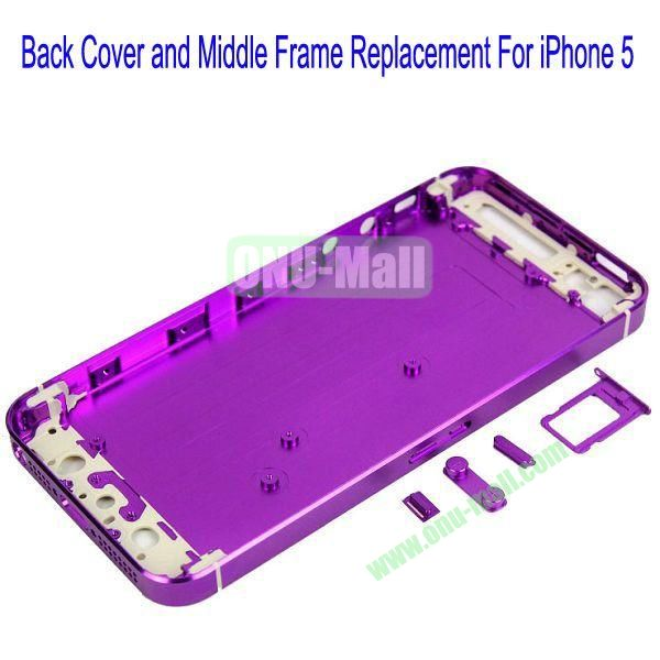 High Quality Back Cover and Middle Frame Replacement for iPhone5(Purple)