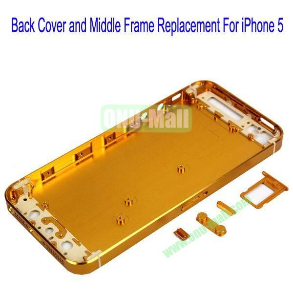 High Quality Back Cover and Middle Frame Replacement for iPhone5(Gold)
