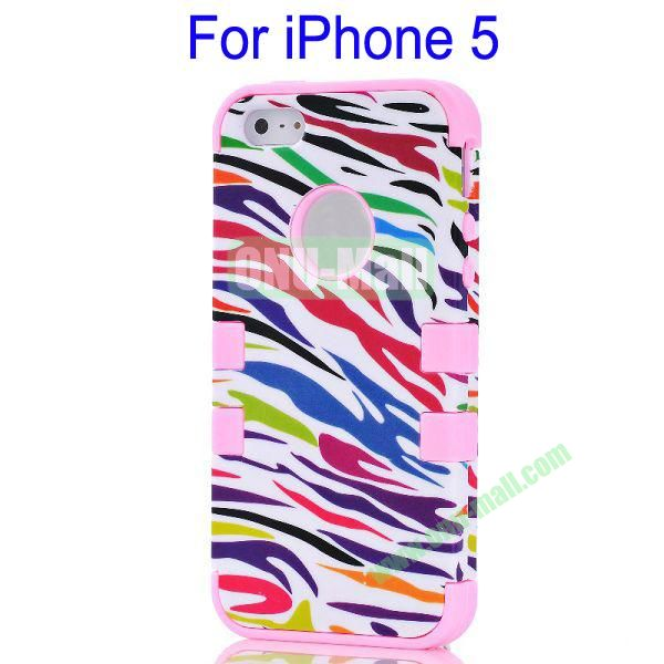 Color Mixing Zebra Lines Front and Back Case Cover for iPhone 5(Pink)