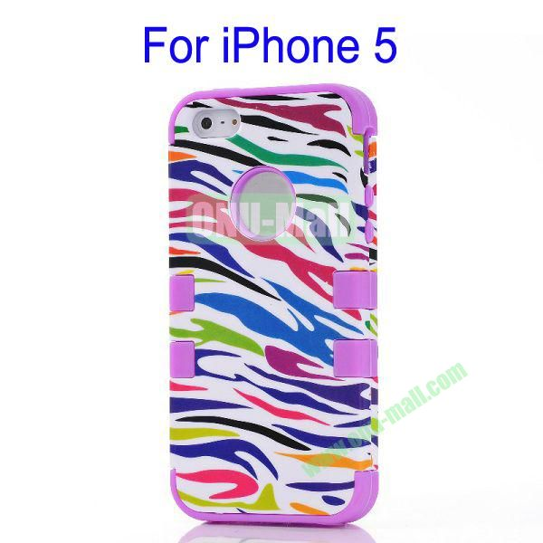 Color Mixing Zebra Lines Front and Back Case Cover for iPhone 5(Purple)