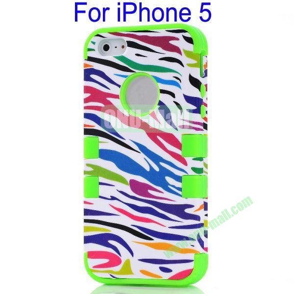 Color Mixing Zebra Lines Front and Back Case Cover for iPhone 5(Green)