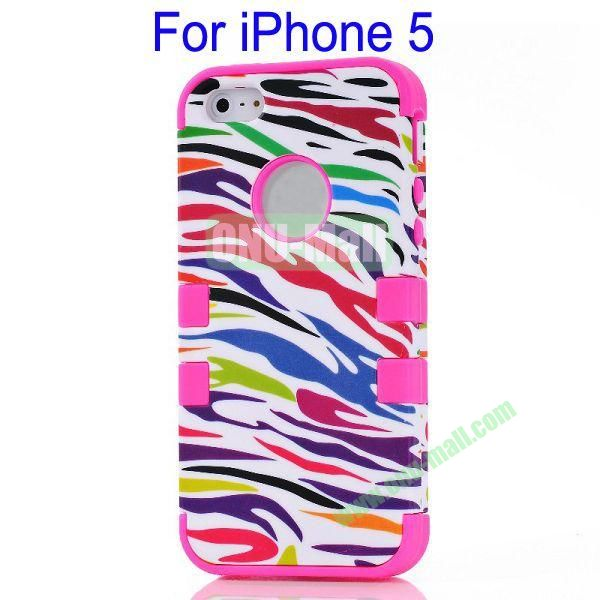 Color Mixing Zebra Lines Front and Back Case Cover for iPhone 5(Rose)