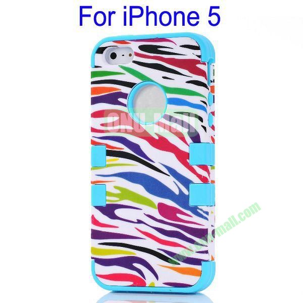 Color Mixing Zebra Lines Front and Back Case Cover for iPhone 5(Blue)