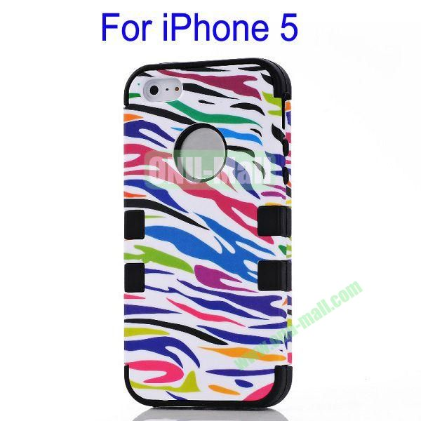 Color Mixing Zebra Lines Front and Back Case Cover for iPhone 5(Black)