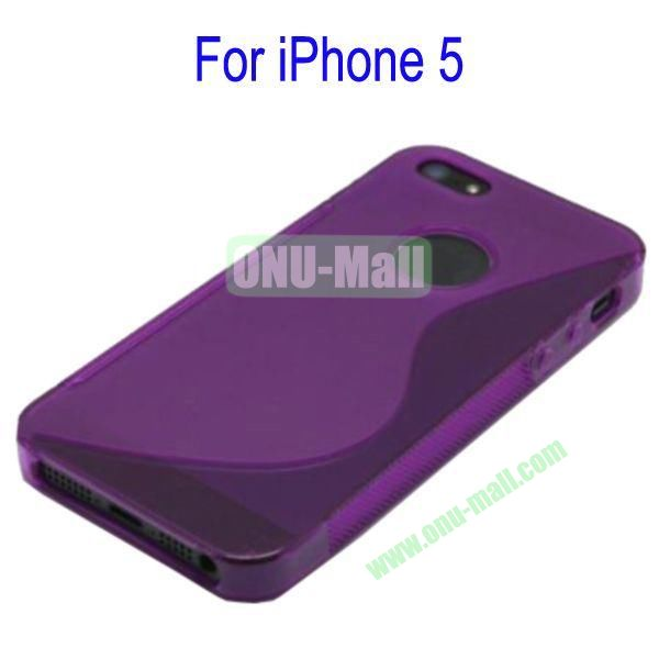 S Shape TPU Case Cover for iPhone 5(Purple)