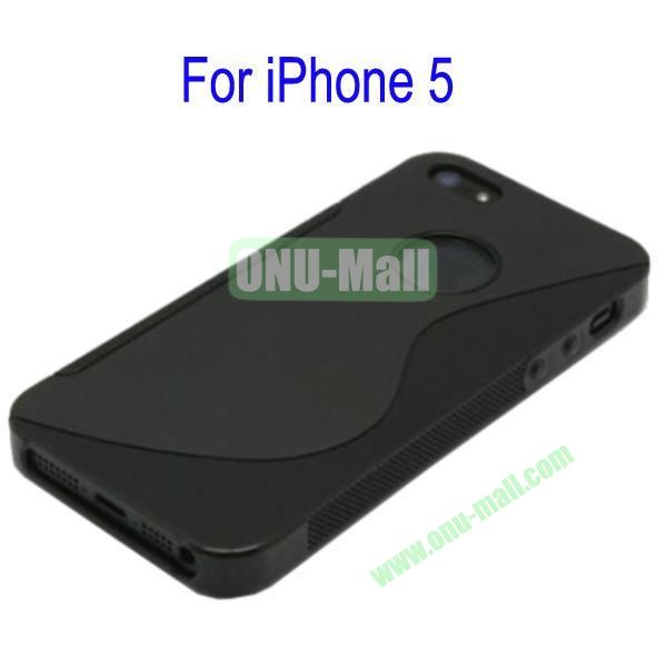 S Shape TPU Case Cover for iPhone 5(Black)