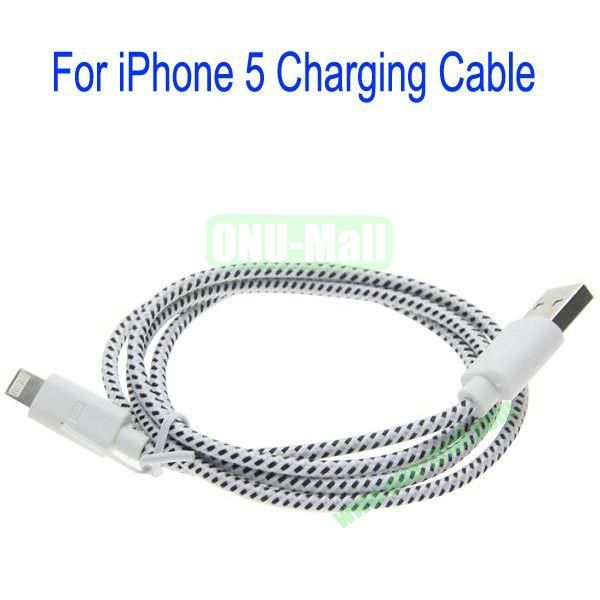 1m High Quality 8Pin to USB 2.0 Woven Nylon Fiber Sync Data And Charging Cable For iPhone 5(White)