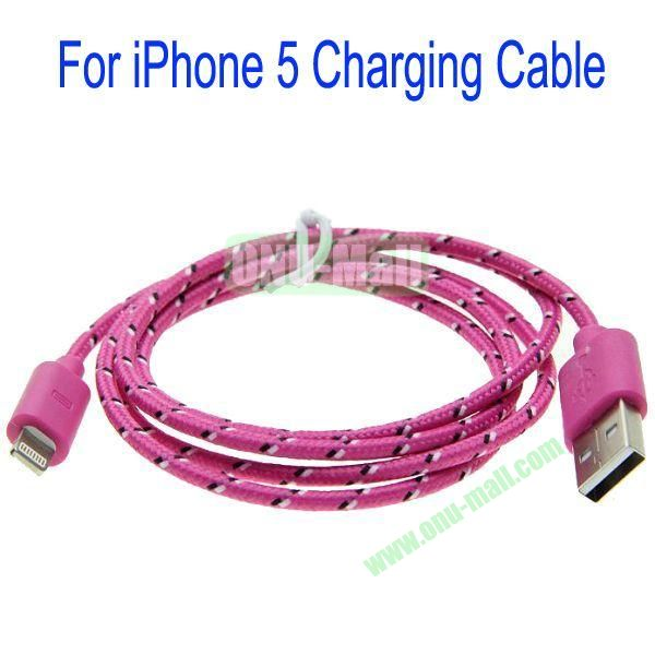 1m High Quality 8Pin to USB 2.0 Woven Nylon Fiber Sync Data And Charging Cable For iPhone 5(Rose)