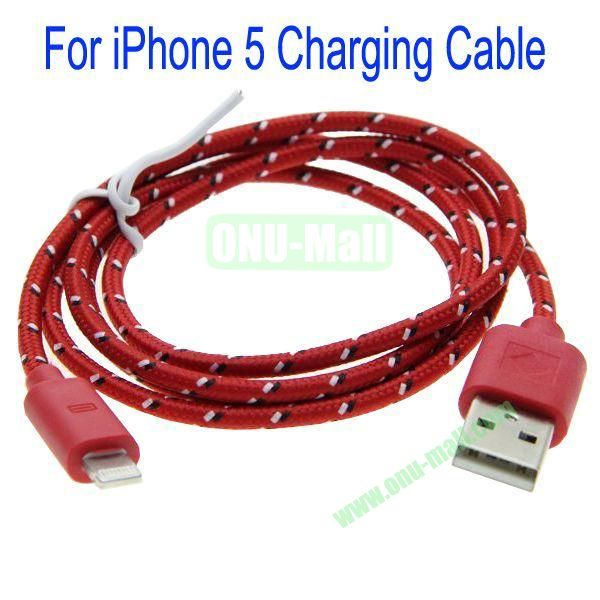 1m High Quality 8Pin to USB 2.0 Woven Nylon Fiber Sync Data And Charging Cable For iPhone 5(Red)