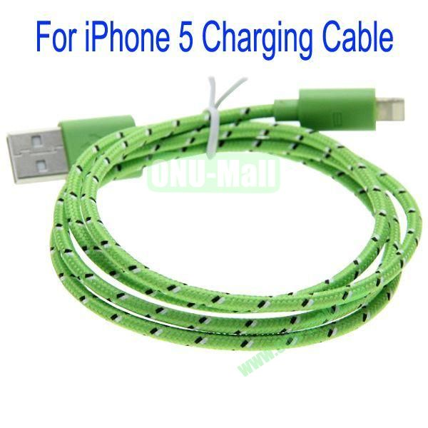 1m High Quality 8Pin to USB 2.0 Woven Nylon Fiber Sync Data And Charging Cable For iPhone 5(Green)