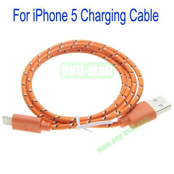 1m High Quality 8Pin to USB 2.0 Woven Nylon Fiber Sync Data And Charging Cable For iPhone 5(Orange)
