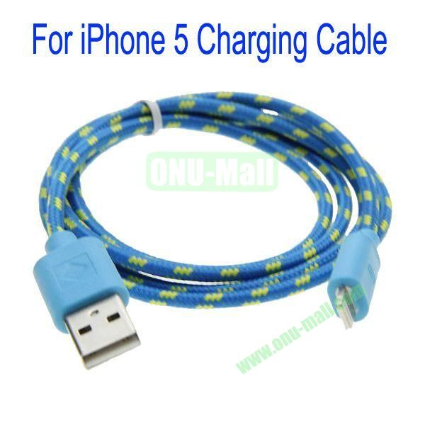 1m High Quality 8Pin to USB 2.0 Woven Nylon Fiber Sync Data And Charging Cable For iPhone 5(Blue)