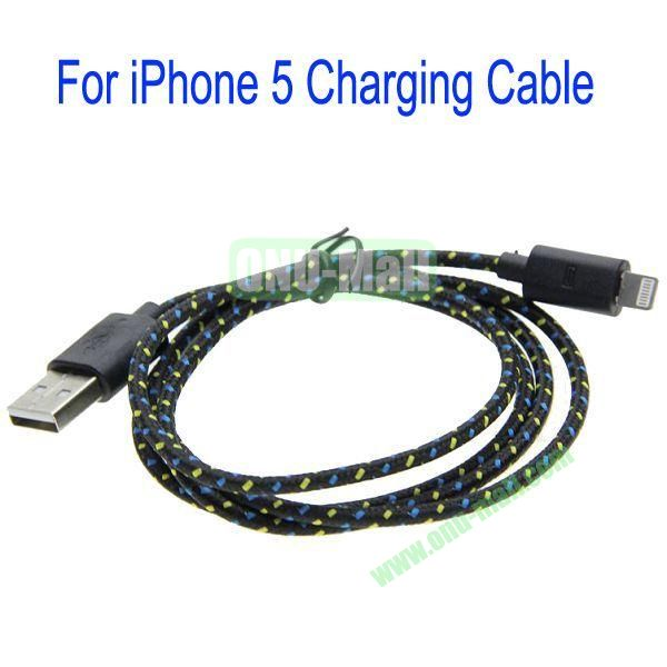 1m High Quality 8Pin to USB 2.0 Woven Nylon Fiber Sync Data And Charging Cable For iPhone 5(Black)