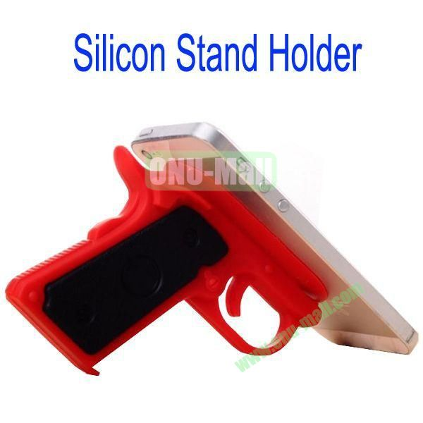 New Arrival Gun Style Silicon Stand Holder with Sucker for Samsung S4S3,HTC M7,iPhone 5iPhone 44S,iPad MiniiPad 4,Mobile Phone etc(Red)