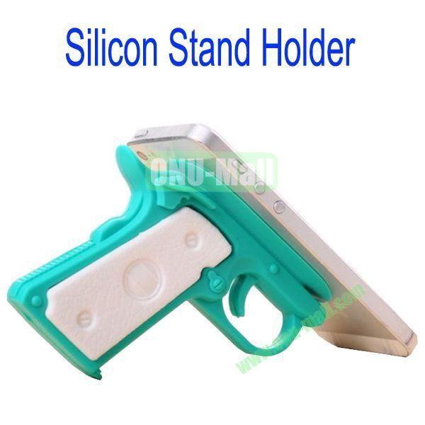 New Arrival Gun Style Silicon Stand Holder with Sucker for Samsung S4S3,HTC M7,iPhone 5iPhone 44S,iPad MiniiPad 4,Mobile Phone etc(Blue)