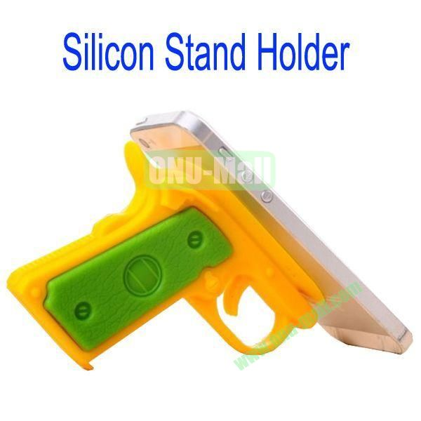 New Arrival Gun Style Silicon Stand Holder with Sucker for Samsung S4S3,HTC M7,iPhone 5iPhone 44S,iPad MiniiPad 4,Mobile Phone etc(Yellow)