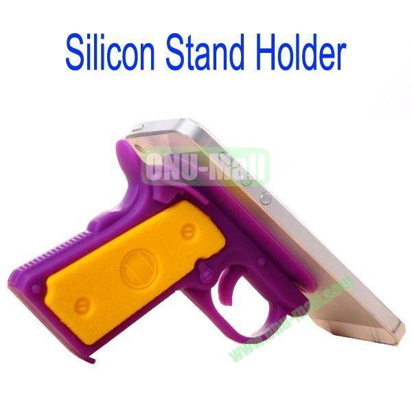 New Arrival Gun Style Silicon Stand Holder with Sucker for Samsung S4S3,HTC M7,iPhone 5iPhone 44S,iPad MiniiPad 4,Mobile Phone etc(Purple)