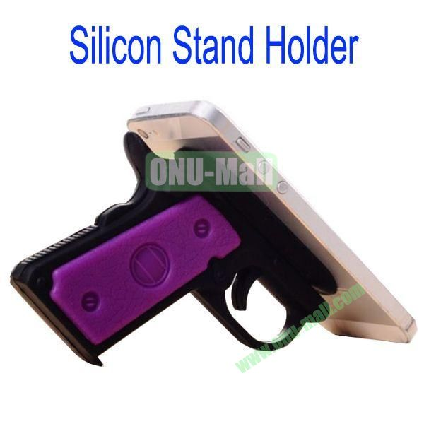 New Arrival Gun Style Silicon Stand Holder with Sucker for Samsung S4S3,HTC M7,iPhone 5iPhone 44S,iPad MiniiPad 4,Mobile Phone etc(Black)