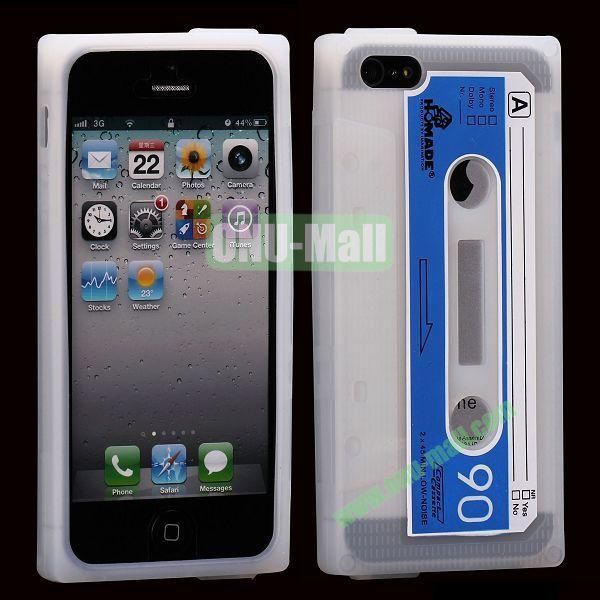 Classical Cassette Tape Silicone Cover Case for iPhone 5(Transparent)