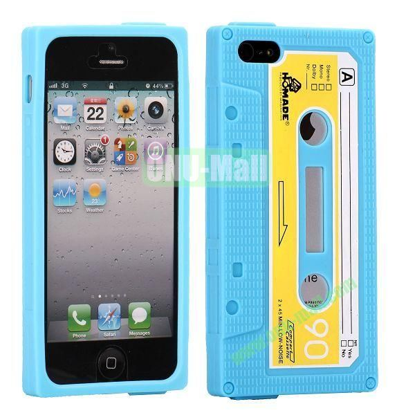 Classical Cassette Tape Silicone Cover Case for iPhone 5(Blue)