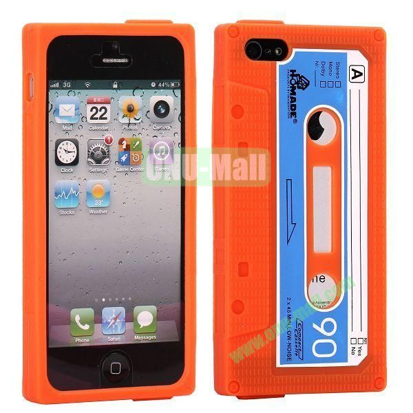 Classical Cassette Tape Silicone Cover Case for iPhone 5(Orange)
