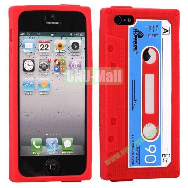 Classical Cassette Tape Silicone Cover Case for iPhone 5(Red)