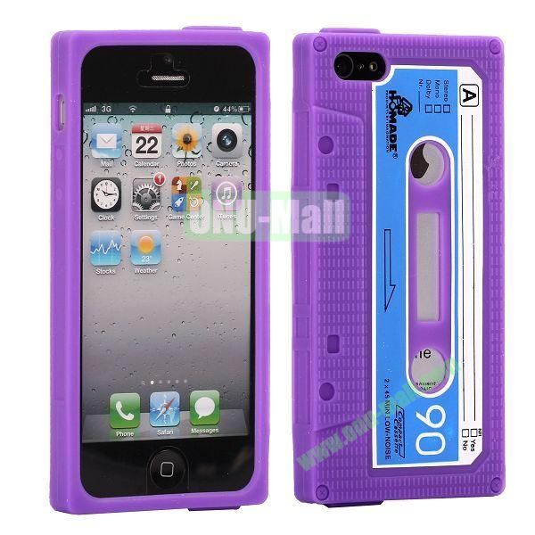 Classical Cassette Tape Silicone Cover Case for iPhone 5(Purple)