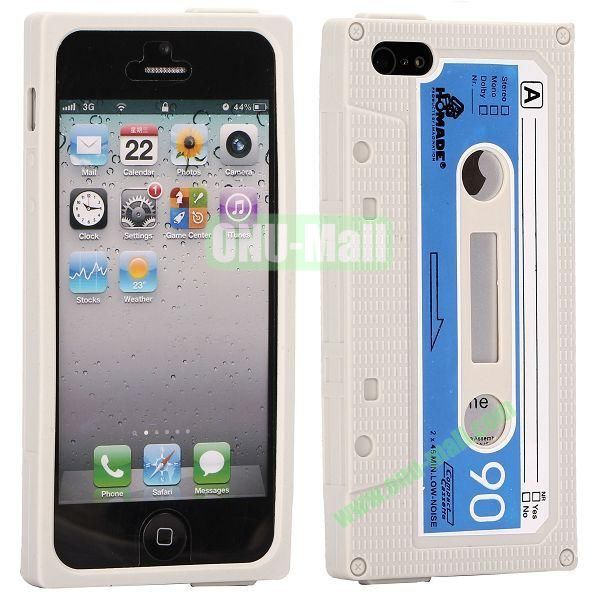 Classical Cassette Tape Silicone Cover Case for iPhone 5(Grey)
