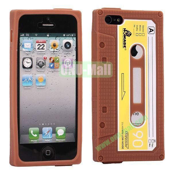Classical Cassette Tape Silicone Cover Case for iPhone 5(Brown)