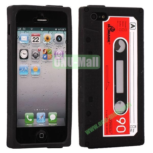 Classical Cassette Tape Silicone Cover Case for iPhone 5(Black)