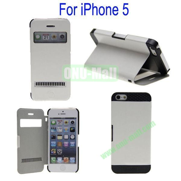 Newest Magnetic Flip Leather and PC Stand Case Cover for iPhone 5 with Screen Display and Touch Function(White)