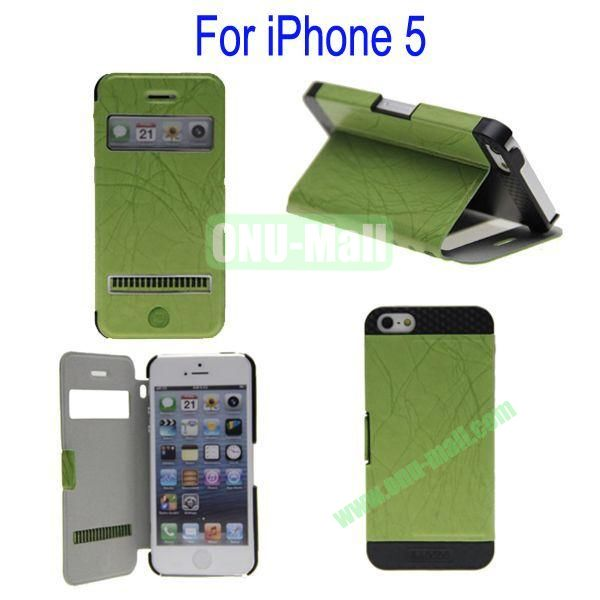 Newest Magnetic Flip Leather and PC Stand Case Cover for iPhone 5 with Screen Display and Touch Function(Green)