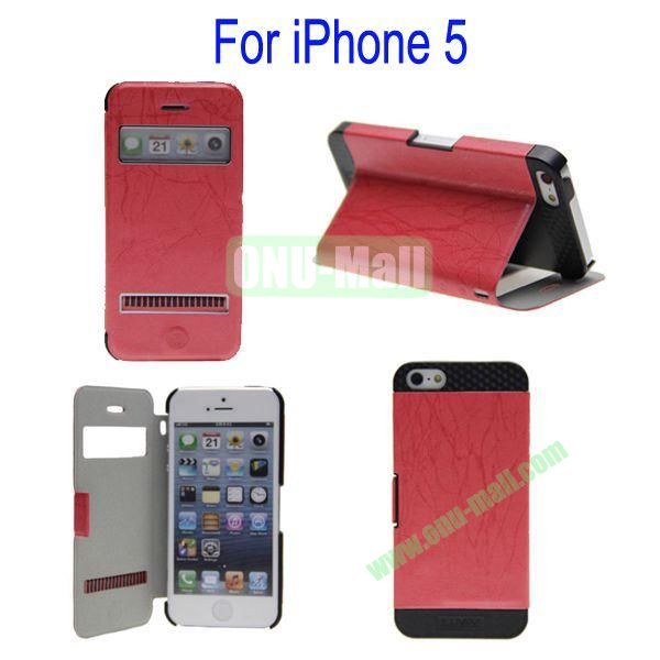 Newest Magnetic Flip Leather and PC Stand Case Cover for iPhone 5 with Screen Display and Touch Function(Red)