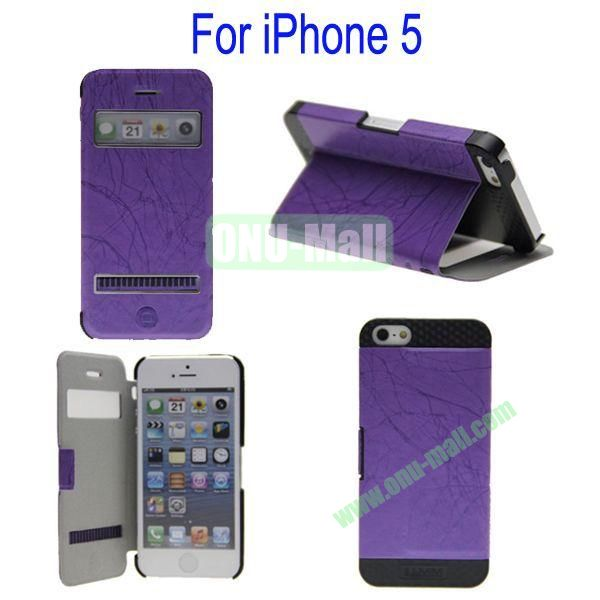 Newest Magnetic Flip Leather and PC Stand Case Cover for iPhone 5 with Screen Display and Touch Function(Purple)