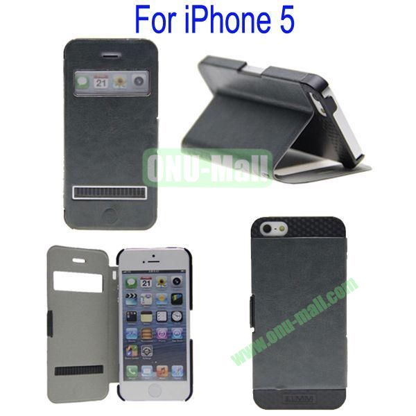 Newest Magnetic Flip Leather and PC Stand Case Cover for iPhone 5 with Screen Display and Touch Function(Grey)