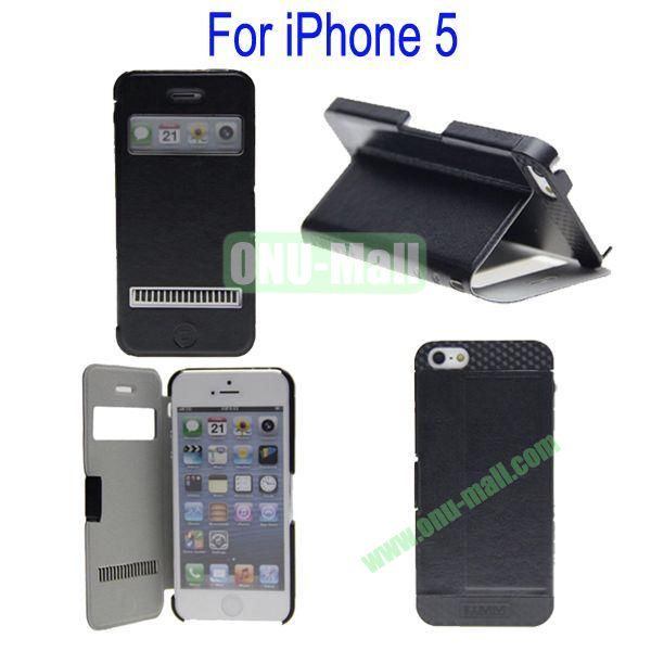 Newest Magnetic Flip Leather and PC Stand Case Cover for iPhone 5 with Screen Display and Touch Function(Black)