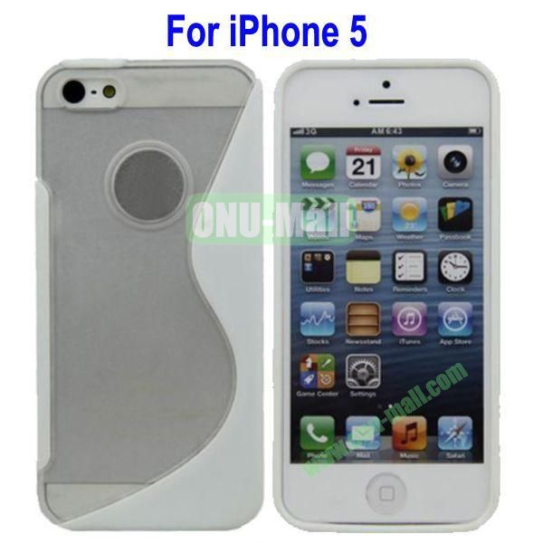 S-Shaped Translucent Hard Case for iPhone 5(White)