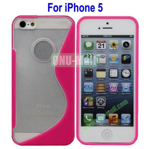 S-Shaped Translucent Hard Case for iPhone 5(Rose)