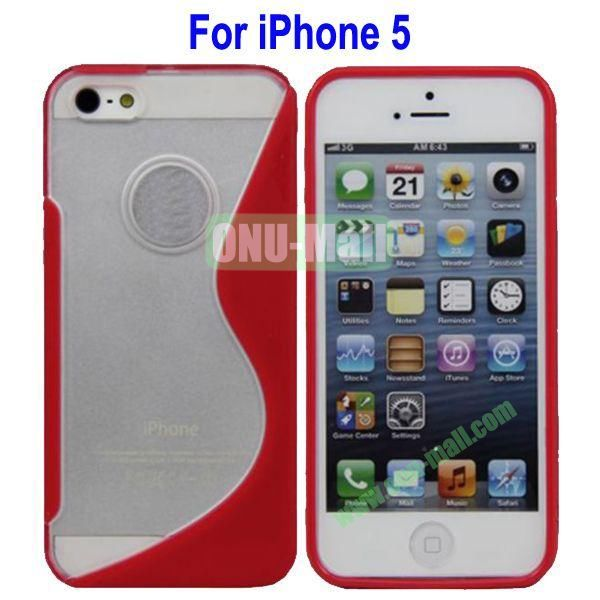 S-Shaped Translucent Hard Case for iPhone 5(Red)