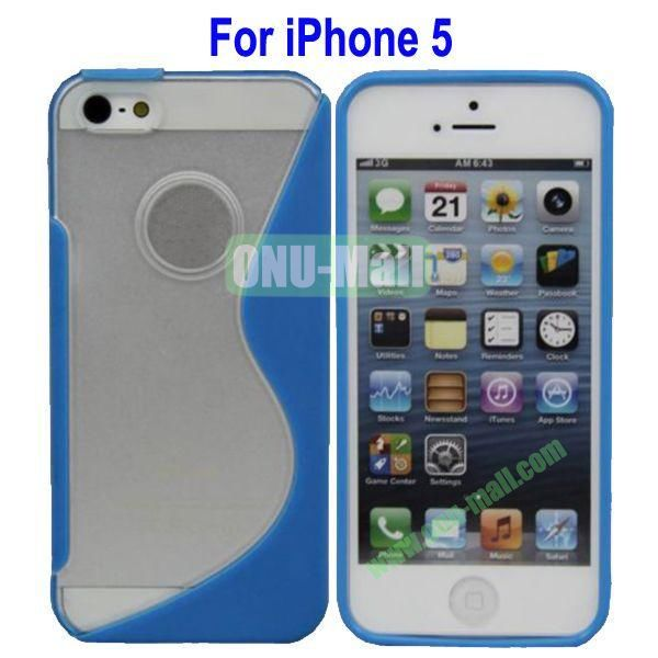 S-Shaped Translucent Hard Case for iPhone 5(Blue)