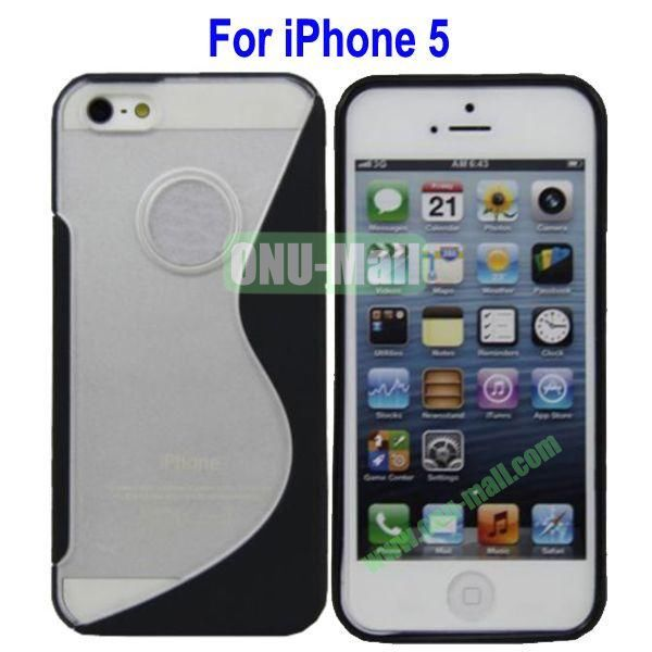 S-Shaped Translucent Hard Case for iPhone 5(Black)