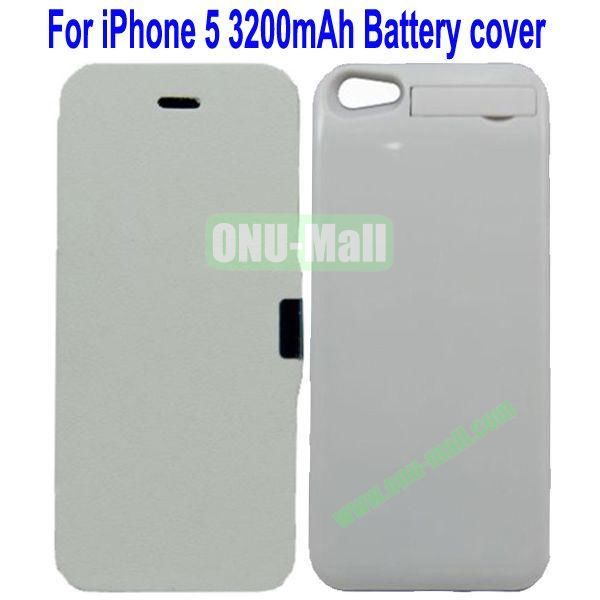 3200mAh Power Front Flip Leather Cover Back Case External Battery for iPhone 5