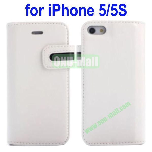 Special Design Magnetic Clip Genuine Leather Case Cover for iPhone 5SiPhone 5 with Stand and Card Slot(White)