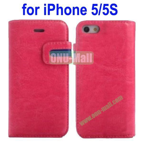Special Design Magnetic Clip Genuine Leather Case Cover for iPhone 5SiPhone 5 with Stand and Card Slot(Rose)