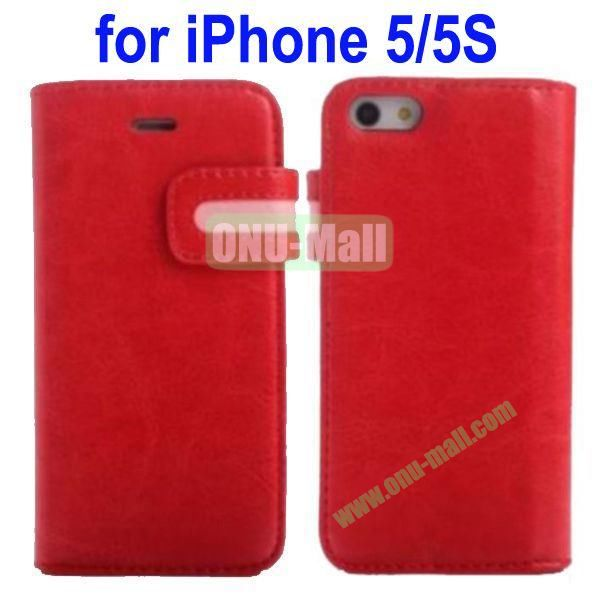 Special Design Magnetic Clip Genuine Leather Case Cover for iPhone 5SiPhone 5 with Stand and Card Slot(Red)
