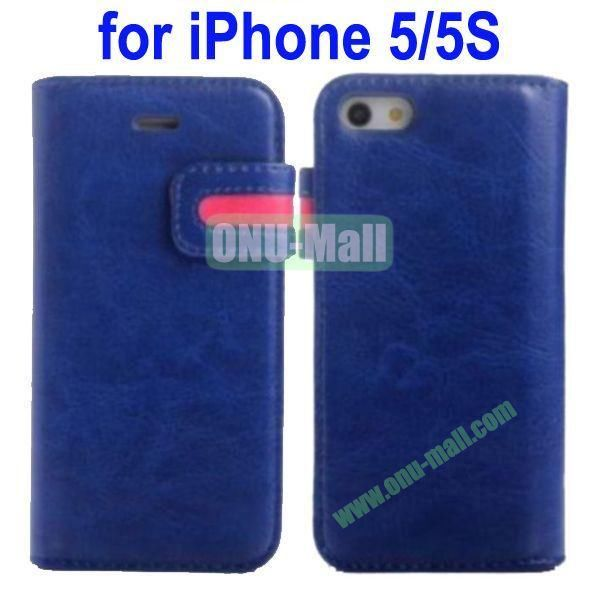 Special Design Magnetic Clip Genuine Leather Case Cover for iPhone 5SiPhone 5 with Stand and Card Slot(Blue)
