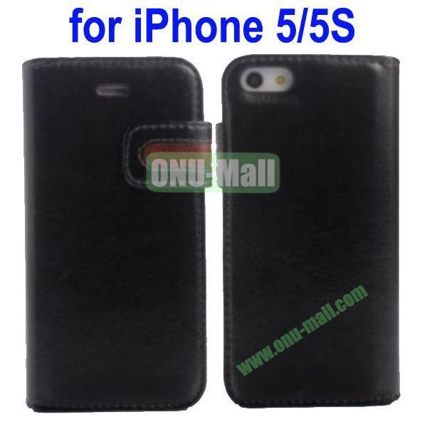 Special Design Magnetic Clip Genuine Leather Case Cover for iPhone 5SiPhone 5 with Stand and Card Slot(Black)